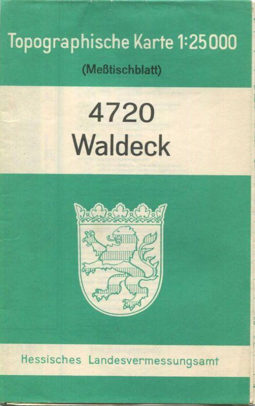 4720 Waldeck 1963 - Meßtischblatt Topographische Karte 1:25'000 Hessisches Landesvermessungsamt