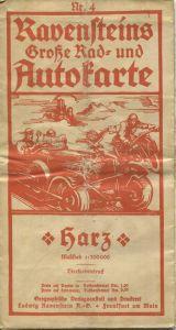 Ravensteins Große Rad- und Autokarte - Harz 30er Jahre - Maßstab 1:300'000 - 57cm x 63cm - Vierfarbendruck Nr. 4 - stark