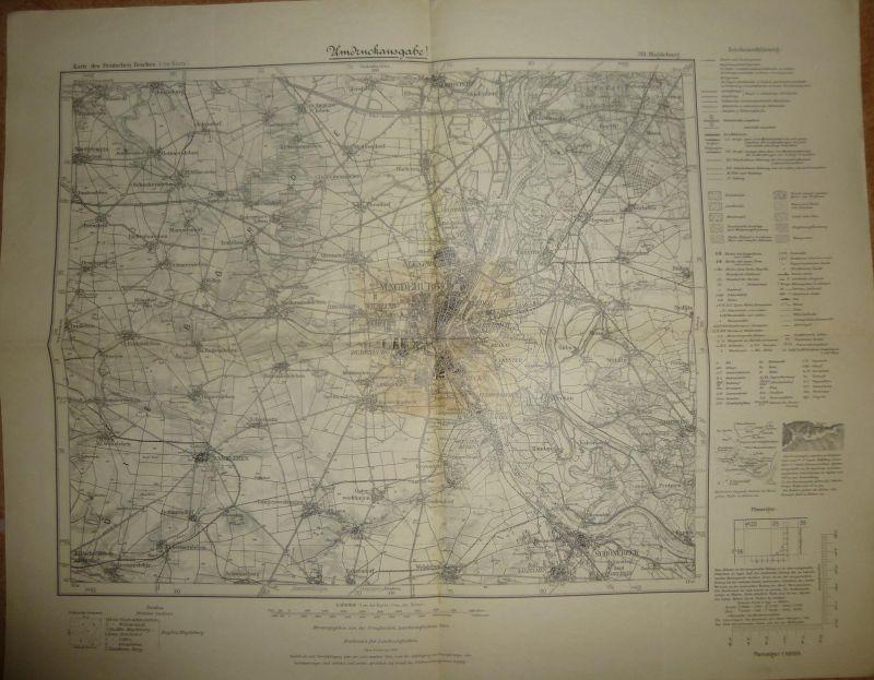Karte des Deutschen Reiches 1-cm-Karte - 314 Magdeburg - Umdruckausgabe! 1904