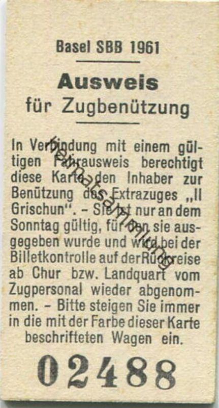Schweiz - Ausweis für Zugbenützung - Extrazug Il Grischun - Rückseite: Fahrpreisermässigung für Luft- Gondel- Sesselbahn