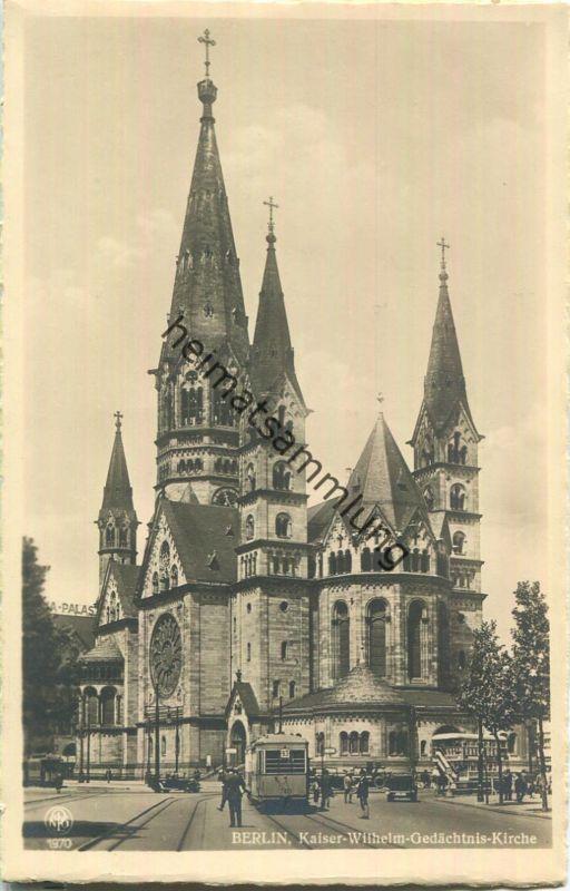 Berlin-Charlottenburg - Kaiser-Wilhelm-Gedächtnis-Kirche - Strassenbahn Linie 93 - Foto-Ansichtskarte