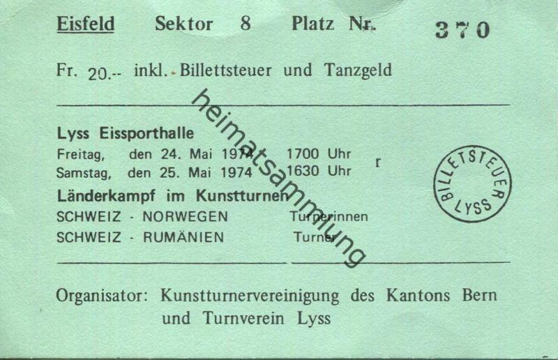 Schweiz - Eissporthalle Lyss - Länderkampf im Kunstturnen - Schweiz Norwegen Turnerinnen - Schweiz Rumänien Turner 1974