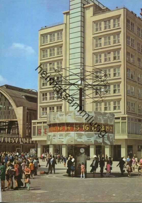 Berlin - Urania Weltzeituhr am Bahnhof Alexanderplatz - AK Grossformat 1974  - Verlag Bild und Heimat Reichenbach
