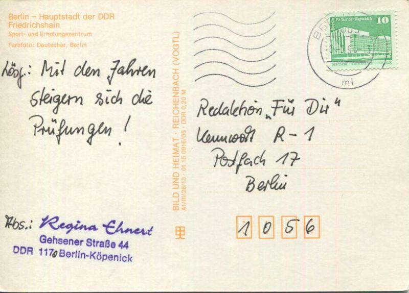 Berlin - Friedrichshain - Sport- und Erholungszentrum - AK Großformat -  Verlag Bild und Heimat Reichenbach