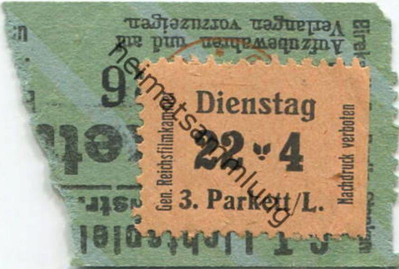 Deutschland - CT. Lichtspiele Ulrichstr. Halle - Aufkleber Gen. Reichsfilmkammer - Kinokarte (E70901)
