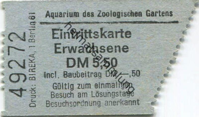 Deutschland - Berlin - Aquarium des Zoologischen Gartens Berlin - Eintrittskarte inkl. Baubeitrag DM -.50