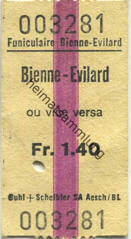 Schweiz - Funiculaire Bienne-Evilard - Billet ou vice versa