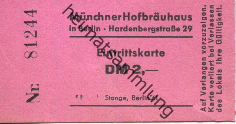 Deutschland - Berlin - Münchner Hofbräuhaus in Berlin - Eintrittskarte