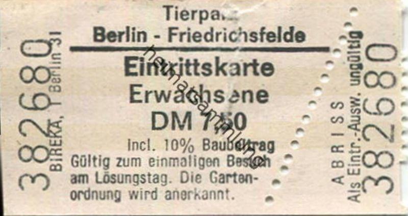 Deutschland - Berlin - Tierpark Berlin-Friedrichsfelde - Eintrittskarte