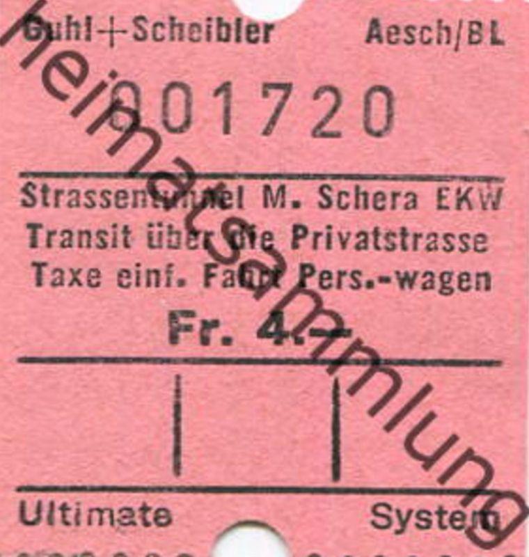 Schweiz - Strassentunnel Munt la Schera EKW - einfache Fahrt PW