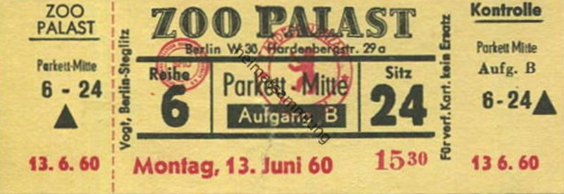 Deutschland - Berlin-Charlottenburg - Kino Zoo Palast Hardenbergstrasse 29a - Eintrittskarte Mo. 13. Juni 1960