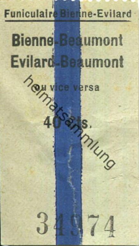 Schweiz - Funiculaire Bienne-Evilard - Bienne Beaumont ou vice versa - Fahrschein 40Cts.
