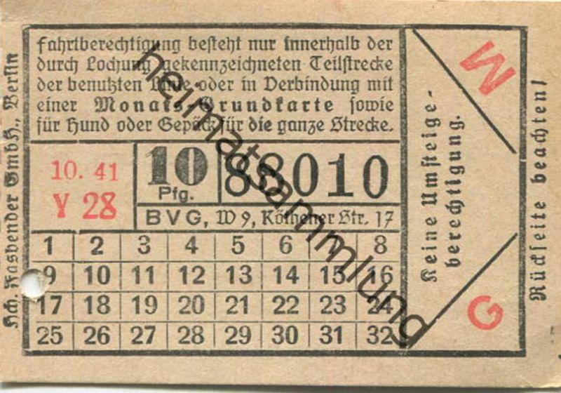 Deutschland - Berlin - BVG Fahrschein 1941 - 10Pfg. 10.41