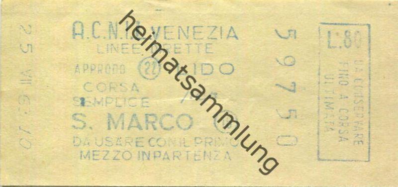 Italien - A.C.N.I.L. - Venezia - Lido S. Marco - Fahrschein 1963 Biglietto L.80