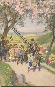 Paul Hey - Volksliederkarte Nr. 15 - Der Mai ist gekommen - Künstlerkarte 20er Jahre