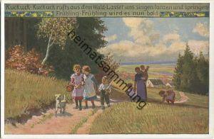 Paul Hey - Volksliederkarte Nr. 73 - Kuckuck Kuckuck ruft's aus dem Wald - Künstlerkarte 20er Jahre