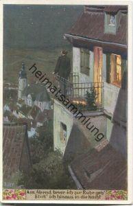 Paul Hey - Volksliederkarte Nr. 98 - Am Abend bevor ich zur Ruhe geh' - Künstlerkarte 20er Jahre