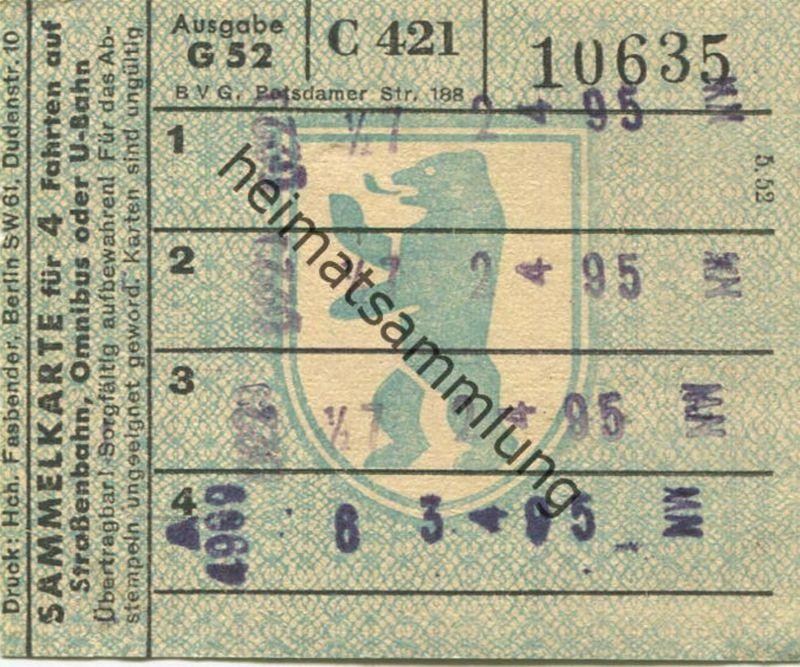 4 Fahrten Karte Bvg.Deutschland Berlin Bvg Sammelkarte Fur 4 Fahrten Auf Strassenbahn Omnibus Oder U Bahn 1952