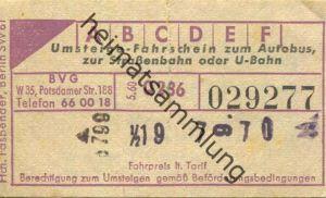 Deutschland - Berlin - BVG-Fahrschein 1960 - Umsteige-Fahrschein - rückseitig Werbung