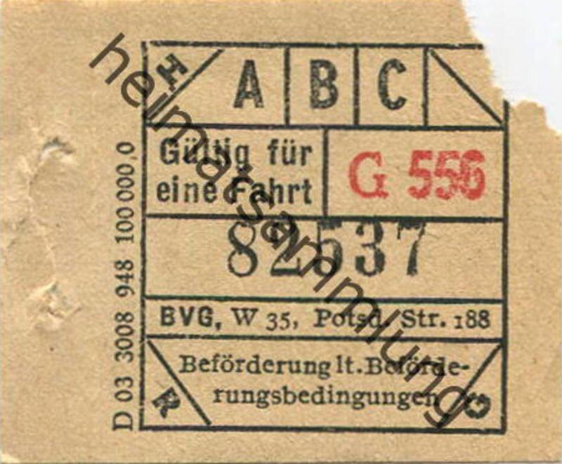 Deutschland - Berlin - BVG-Fahrschein - Gültig für eine Fahrt