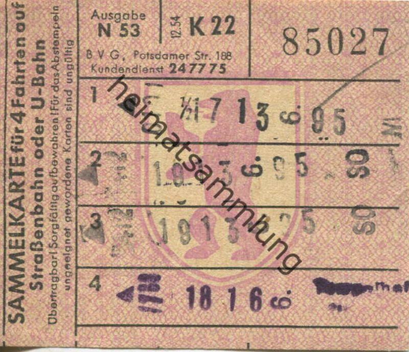 4 Fahrten Karte Bvg.Deutschland Berlin Bvg Sammelkarte Fur 4 Fahrten Auf Strassenbahn Oder U Bahn 1954