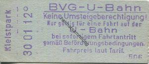 Deutschland - Berlin - BVG U-Bahn - U-Bahn Fahrschein - Turmstrasse - rückseitig Zudruck BVG-Adresse und Fahrpreis