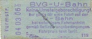 Deutschland - Berlin - BVG U-Bahn - U-Bahn Fahrschein - Kleistpark - rückseitig Zudruck BVG-Adresse und Fahrpreis