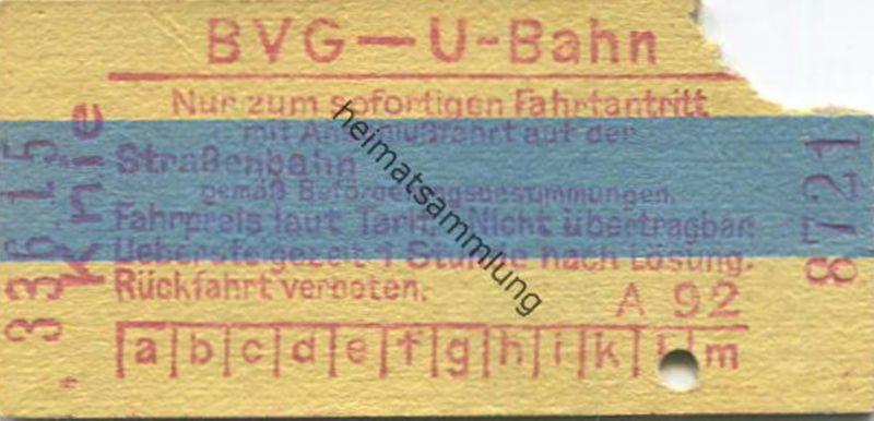 Deutschland - Berlin - BVG - U-Bahn - Fahrschein mit Anschlussfahrt auf der Strassenbahn - Knie