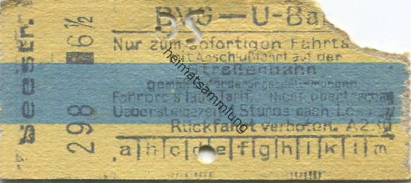 Deutschland - Berlin - BVG - U-Bahn - Fahrschein mit Anschlussfahrt auf der Strassenbahn - Seestrasse