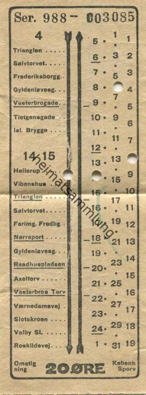 Dänemark - Kobenhavns Sporveje - Billetten 20 Öre - Ticket - Fahrschein