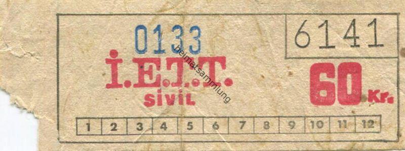 Türkei - I. E. T. T. Istanbul Elektrik Tramvay Tünel - Fahrschein 60 Kr.