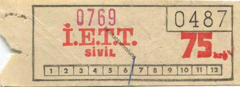 Türkei - I. E. T. T. Istanbul Elektrik Tramvay Tünel - Fahrschein 75 Kr.