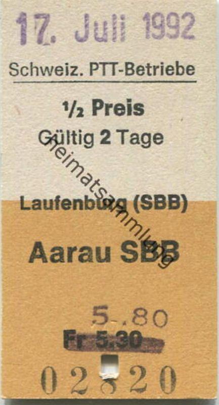Schweiz - Schweizerische PTT-Betriebe - Laufenburg (SBB) Aarau SBB - 1/2 Preis - Postauto Fahrkarte Fr 5.80