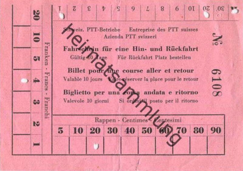 Schweiz - Schweizerische PTT-Betriebe - Fahrschein für eine Hin- und Rückfahrt