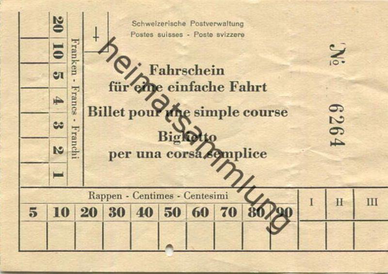 Schweiz - Schweizerische Postverwaltung - Fahrschein für eine Einfache Fahrt