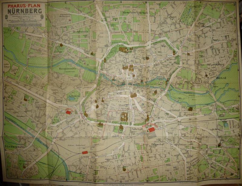 Deutschland - Pharus-Plan - Nürnberg 20er Jahre - kleine Ausgabe - 38cm x 50cm - handschriftliche Ergänzungen der Strass