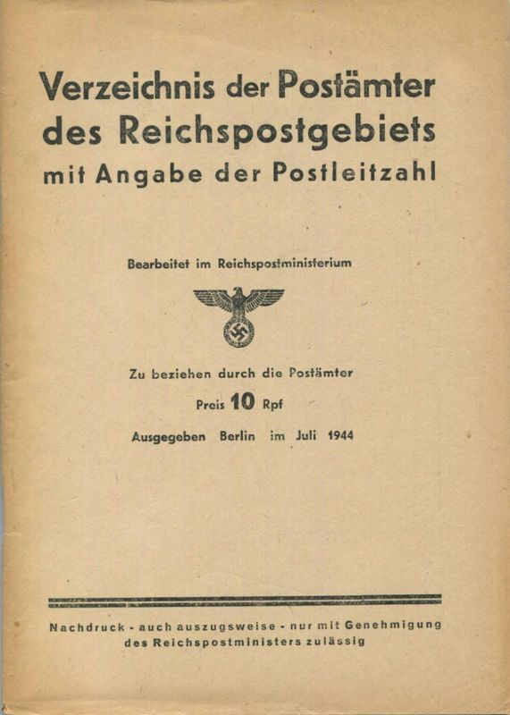 Deutschland - Verzeichnis der Postämter des Reichspostgebietes mit Angabe der Postleitzahl - Ausgabe Juli 1944 - 22 Aach