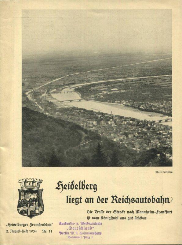 Deutschland - Heidelberger Fremdenblatt - Offizielle Kurzeitung - Nr.11 - 1934 - 32 Seiten mit 13 Abbildungen - u.a. Art