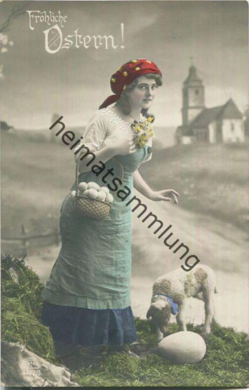 Fröhliche Ostern - Frau - Lamm - Eier