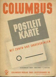 Deutschland - Columbus Postleitkarte mit Zonen und Ländergrenzen 1947 - sechsfarbige Karte 1:2'500'000 - Columbus Verlag