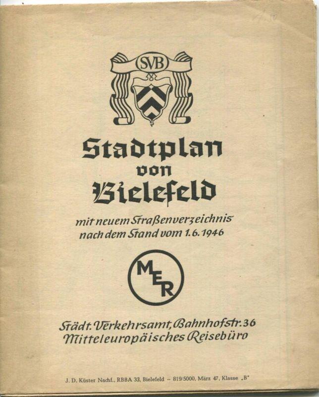 Deutschland - Stadtplan von Bielefeld mit neuem Strassenverzeichnis nach dem Stand vom 1. 6. 1946 - MER Städt. Verkehrsa