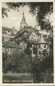 Tübingen - Stiftskirche - Hölderlinturm - Foto-Ansichtskarte - Verlag A. Weber & Co Stuttgart