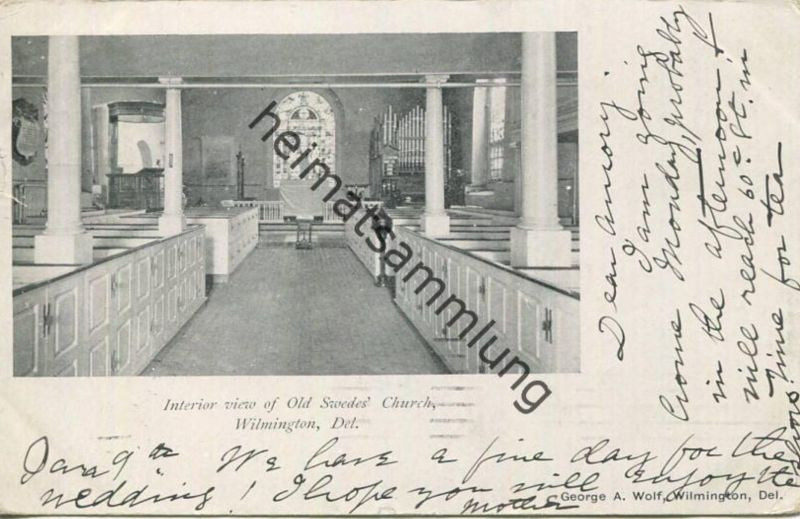 Delaware - Wilmington - Interior view of old Swedes Church - Organ - Orgel - Publisher George A. Wolf Wilmington