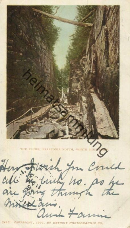 White Mountains - The Flume - Franconia Notch - Copyright by Detroit Photographic Co 1901 gel. 1903