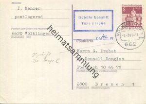 Postkarte - frankiert mit 8 Pfg. Bauwerke Berlin und über 42 Pfg. Freimachungsvermerk 'Gebühr bezahlt - Taxe percue' von