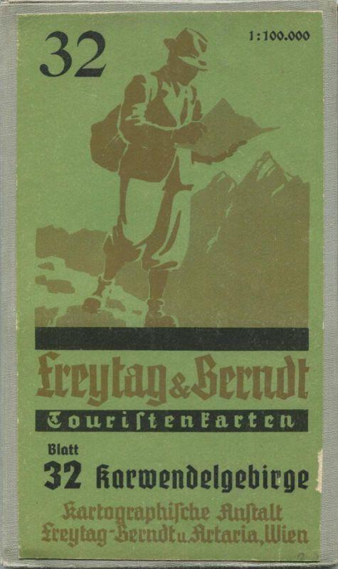 Karwendelgebirge 1952 - Touristenkarten - Blatt 32 Kartographische Anstalt Freytag-Berndt u. Artaria Wien - 64cm x 70cm