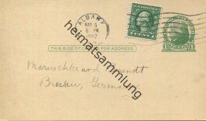 USA - Postkarte mit Zudruck 1922 - New York State Library - Ganzsache gel. 1922