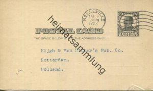 USA - Postkarte mit Zudruck 1923 - Belleville Public Library - Unterschrift Bella Steuernagel - Ganzsache