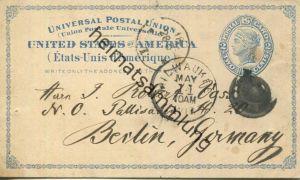 USA - Postkarte mit Werbezudruck 1881 - Fortschritt der Zeit - Acker- und Gartenbauzeitung - Ganzsache