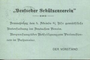 Chile - Postkarte mit Zudruck Deutscher Schützenverein - Ganzsache 1897  gel. 1897